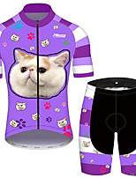cheap -21Grams Men's Short Sleeve Cycling Jersey with Shorts Lavender Cat Animal Bike Clothing Suit UV Resistant Breathable Quick Dry Sweat-wicking Sports Cat Mountain Bike MTB Road Bike Cycling Clothing