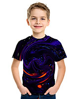 Недорогие -Дети Мальчики Активный Уличный стиль 3D С принтом С короткими рукавами Футболка Лиловый
