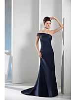 cheap -Sheath / Column Elegant Minimalist Engagement Formal Evening Dress One Shoulder Sleeveless Court Train Taffeta with Sleek 2020