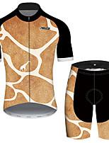 Недорогие -21Grams Муж. С короткими рукавами Велокофты и велошорты Черный / оранжевый геометрический Животное Жираф Велоспорт Наборы одежды Устойчивость к УФ Дышащий Быстровысыхающий Впитывает пот и влагу