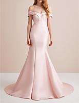 Недорогие -Русалка С открытыми плечами Со шлейфом средней длины Сатин Элегантный стиль / Розовый Обручение / Торжественное мероприятие Платье с холеный 2020