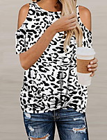Недорогие -Жен. Леопард Футболка Повседневные Светло-коричневый / Белый / Зеленый / Коричневый / Бежевый