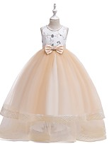 cheap -Princess Round Floor Length Cotton Junior Bridesmaid Dress with Bow(s) / Embroidery