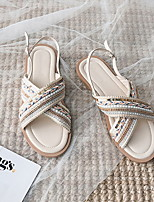 cheap -Women's Sandals Flat Heel Round Toe PU Running Shoes Spring & Summer Green / Beige