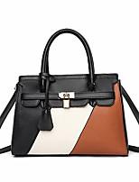cheap -Women's PU Top Handle Bag Color Block Earth Yellow / Red / Khaki