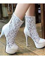 cheap -Women's Boots Stiletto Heel Pointed Toe PU Summer White / Black