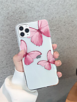 cheap -Case For Apple iPhone 11 11 Pro 11 Pro Max  Red butterflies TPU material Painting process scratch proof phone case
