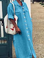 cheap -Women's Maxi Fuchsia Blue Dress Shirt Solid Color Shirt Collar S M