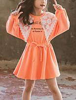 Недорогие -Дети Девочки Симпатичные Стиль Контрастных цветов Кружева Длинный рукав Выше колена Платье Оранжевый