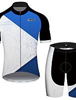 Недорогие -21Grams Муж. С короткими рукавами Велокофты и велошорты Синий / белый Пэчворк геометрический Велоспорт Наборы одежды Устойчивость к УФ Дышащий Быстровысыхающий Впитывает пот и влагу Виды спорта