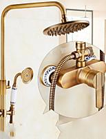 Недорогие -душевая система - ручной душ в комплекте с фиксированным креплением душ с дождевой насадкой из латуни настенный клапан из латуни ванна смесители для душа