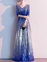 cheap -A-Line Sparkle Blue Wedding Guest Prom Dress V Neck Half Sleeve Floor Length Polyester with Sequin 2020