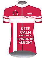 Недорогие -21Grams Жен. С короткими рукавами Велокофты Red and White геометрический Велоспорт Джерси Верхняя часть Горные велосипеды Шоссейные велосипеды Устойчивость к УФ Дышащий Быстровысыхающий Виды спорта