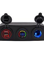 Недорогие -Автомобильное зарядное устройство 5v / палатка 4.2a с диафрагмой Dual USB 12V цветной вольтметр 12v с патроном для лампы синий / красный / зеленый / IP65 / DC12 DC DC 24V универсальный материал