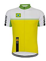Недорогие -21Grams Муж. С короткими рукавами Велокофты Зеленый  / желтый Бразилия Флаги Велоспорт Джерси Верхняя часть Горные велосипеды Шоссейные велосипеды Устойчивость к УФ Дышащий Быстровысыхающий