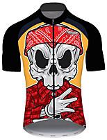 Недорогие -21Grams Муж. С короткими рукавами Велокофты Черный / красный Черепа Велоспорт Джерси Верхняя часть Горные велосипеды Шоссейные велосипеды Устойчивость к УФ Дышащий Быстровысыхающий Виды спорта Одежда