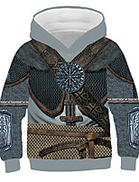 cheap -Kids Boys' Basic Punk & Gothic Color Block 3D Graphic Print Long Sleeve Hoodie & Sweatshirt Gray
