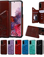 Недорогие -Кейс для Назначение SSamsung Galaxy Note 9 / Galaxy S10 / Galaxy S10 Plus Бумажник для карт / со стендом / С узором Кейс на заднюю панель Бабочка / Однотонный Кожа PU / ТПУ