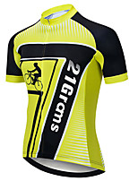 cheap -21Grams Men's Short Sleeve Cycling Jersey Black / Yellow Stripes Geometic Bike Jersey Top Mountain Bike MTB Road Bike Cycling UV Resistant Breathable Quick Dry Sports Clothing Apparel / Stretchy