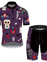 Недорогие -21Grams Муж. С короткими рукавами Велокофты и велошорты Фиолетовый Черепа Цветочные ботанический Велоспорт Наборы одежды Устойчивость к УФ Дышащий Быстровысыхающий Впитывает пот и влагу Виды спорта