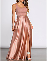 cheap -Two Piece Elegant Pink Wedding Guest Prom Dress Scoop Neck Sleeveless Floor Length Lace Satin with Split Lace Insert 2020