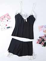 cheap -Women's Lace / Backless / Bow Suits Nightwear Color Block Blushing Pink Black S M L