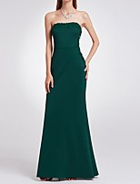 cheap -Sheath / Column Minimalist Green Engagement Formal Evening Dress Strapless Sleeveless Floor Length Polyester with Sleek 2020