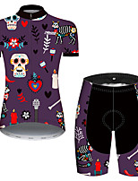 cheap -21Grams Women's Short Sleeve Cycling Jersey with Shorts Violet Skull Floral Botanical Bike Clothing Suit Breathable Quick Dry Ultraviolet Resistant Sweat-wicking Sports Skull Mountain Bike MTB Road