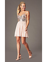 cheap -A-Line Flirty Sparkle Homecoming Cocktail Party Dress Spaghetti Strap Sleeveless Short / Mini Chiffon Sequined with Pleats Sequin 2020