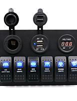 Недорогие -dc12v / 24v автомобильный 5-контактный двойной светильник 6-позиционный переключатель прикуривателя двойной комбинированный вольтметр usb / ip65 / с защитой от перегрузки / широкий спектр применения