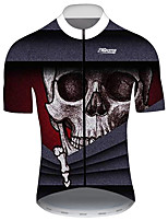 cheap -21Grams Men's Short Sleeve Cycling Jersey Black / Red Skull Bike Jersey Top Mountain Bike MTB Road Bike Cycling UV Resistant Breathable Quick Dry Sports Clothing Apparel / Stretchy