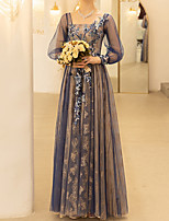 cheap -A-Line Floral Blue Wedding Guest Formal Evening Dress Scoop Neck Long Sleeve Floor Length Polyester with Sequin Embroidery 2020