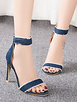 cheap -Women's Sandals Stiletto Heel Round Toe Denim Summer Dark Blue / Light Blue