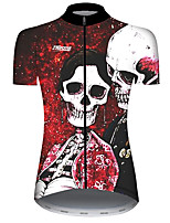 cheap -21Grams Women's Short Sleeve Cycling Jersey Black / Red Galaxy Skull Floral Botanical Bike Jersey Top Mountain Bike MTB Road Bike Cycling UV Resistant Breathable Quick Dry Sports Clothing Apparel