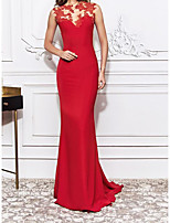 cheap -Mermaid / Trumpet Elegant Red Engagement Formal Evening Dress Illusion Neck Sleeveless Sweep / Brush Train Lace Cotton with Embroidery 2020