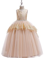 cheap -Princess Round Floor Length Cotton Junior Bridesmaid Dress with Bow(s) / Tier / Appliques
