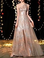 Недорогие -блесток-линии блестки без рукавов одно плечо длиной до пола спандекс помолвка платье выпускного вечера