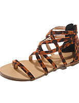 cheap -Women's Sandals 2020 Spring &  Fall / Spring & Summer Flat Heel Open Toe Classic Casual Roman Shoes Daily Outdoor Leopard PU Pink / Brown / Beige