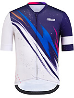 cheap -21Grams Men's Short Sleeve Cycling Jersey Blue / White Bike Jersey Top Mountain Bike MTB Road Bike Cycling UV Resistant Breathable Quick Dry Sports Clothing Apparel / Stretchy