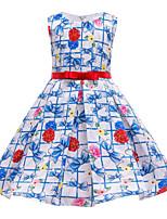cheap -Kids Toddler Girls' Basic Cute Floral Print Sleeveless Knee-length Dress Blue