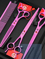 cheap -Rodents Dog Cat Outfits Grooming Stainless steel Grooming Kits Scissor Portable Durable Pet Grooming Supplies Pink Four-piece Suit