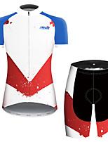 Недорогие -21Grams Жен. С короткими рукавами Велокофты и велошорты Красный + синий Пэчворк геометрический Велоспорт Наборы одежды Дышащий Быстровысыхающий Ультрафиолетовая устойчивость Впитывает пот и влагу