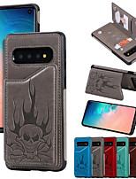 Недорогие -Кейс для Назначение SSamsung Galaxy S9 / S9 Plus / S8 Plus Кошелек / Бумажник для карт / Защита от удара Кейс на заднюю панель Черепа Кожа PU