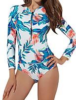 cheap -Women's Blue One-piece Swimwear Swimsuit - Floral S M L Blue