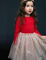 Недорогие -Дети Дети (1-4 лет) Девочки Активный Симпатичные Стиль Красный Однотонный Сетка Длинный рукав Средней длины Платье Красный