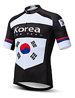 cheap -21Grams Men's Short Sleeve Cycling Jersey Black / White Korea National Flag Bike Jersey Top Mountain Bike MTB Road Bike Cycling UV Resistant Breathable Quick Dry Sports Clothing Apparel / Stretchy