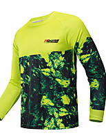 cheap -21Grams Men's Long Sleeve Cycling Jersey Downhill Jersey Dirt Bike Jersey Green / Yellow Floral Botanical Bike Jersey Top Mountain Bike MTB Road Bike Cycling UV Resistant Breathable Quick Dry Sports