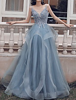 cheap -Ball Gown Beautiful Back Blue Prom Formal Evening Dress Spaghetti Strap Sleeveless Floor Length Polyester with Pleats Appliques 2020