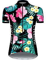 cheap -21Grams Women's Short Sleeve Cycling Jersey Pink+Green Animal Floral Botanical Bike Jersey Top Mountain Bike MTB Road Bike Cycling UV Resistant Breathable Quick Dry Sports Clothing Apparel / Stretchy
