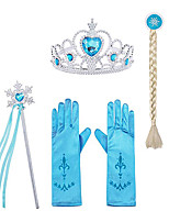cheap -Princess Elsa Gloves Outfits Princess Cosplay Jewelry Accessories Girls' Movie Cosplay Halloween Purple / Yellow / Fuchsia Gloves Crown Wand Children's Day Masquerade Rhinestone Fabric Plastic